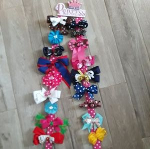 Girls hair bows with Princess hanging bow holder